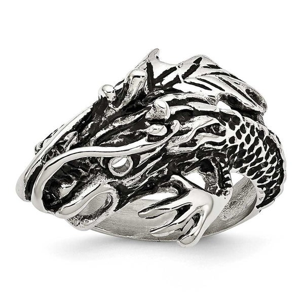 Chisel Stainless Steel Antiqued Dragon Ring (18 mm)