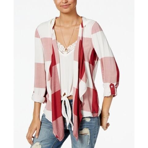 Roxy Women's Red Size Medium M Draped Open Poncho Plaid Print Sweater