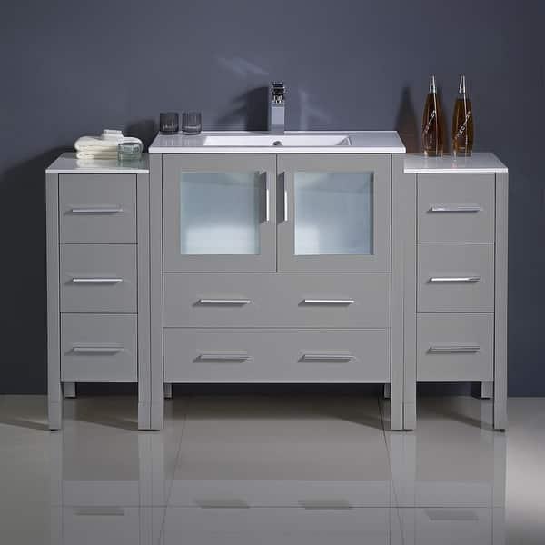 Shop Fresca Torino 54 Gray Modern Bathroom Cabinets W Integrated Sink Overstock 31488640