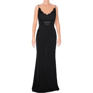 Aqua Womens Evening Dress Lace Inset Velvet