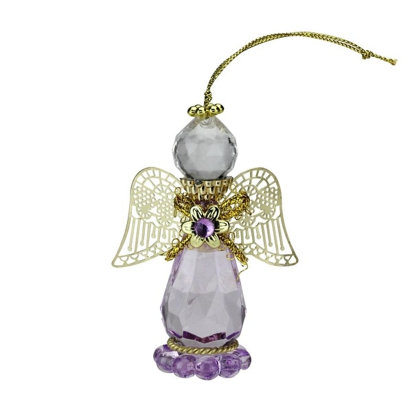 "3.25"" Light Amethyst June Birthstone Gem Angel Christmas Ornament"