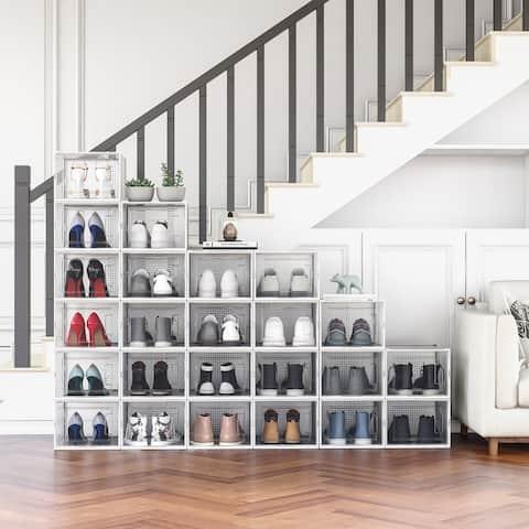 24 Pack Shoe Storage Box, Plastic Foldable Shoe Box, Stackable Clear Shoe Organizer (X-Large/ White)