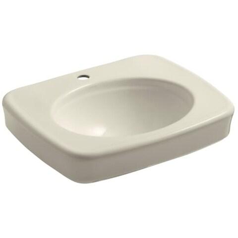"""Kohler K-2340-1 Bancroft 17-1/8"""" Pedestal Bathroom Sink with 1 Hole Drilled and Overflow"""