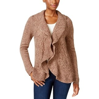 Karen Scott Womens Petites Cardigan Sweater Marled Long Sleeves - pm