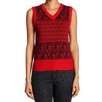 Marc Jacobs NEW Red Womens Size Large L Fair-Isle Sleeveless Sweater