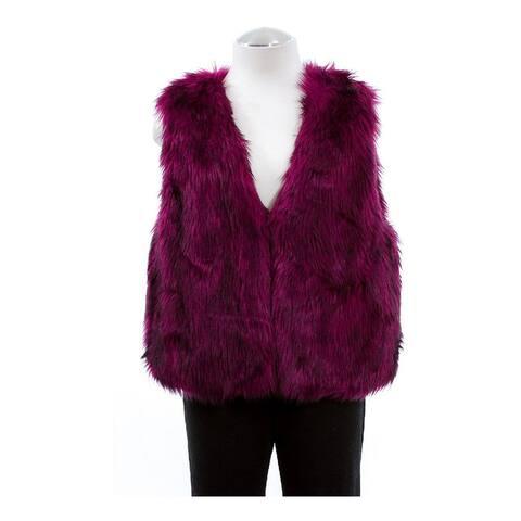 Safari Womens by Imposter Faux Fur Sweater Vest, purple, Medium