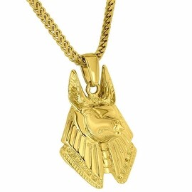 Mens Designer Anubis God Of Underworld 18K Gold Tone 24 Inch Stainless Steel Franco Necklace