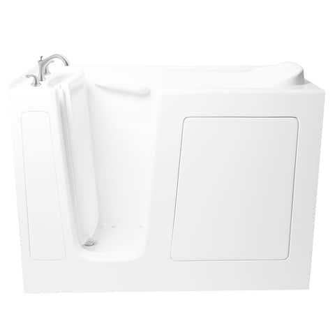 "Ariel EZWT-3054-L-SOAKER 60"" Walk In Soaking Bath Tub with Left Hand Roman Tub Filler Faucet - White"