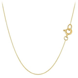 Mcs Jewelry Inc 10 KARAT YELLOW GOLD BOX CHAIN NECKLACE (.45mm) THIN AND STRONG