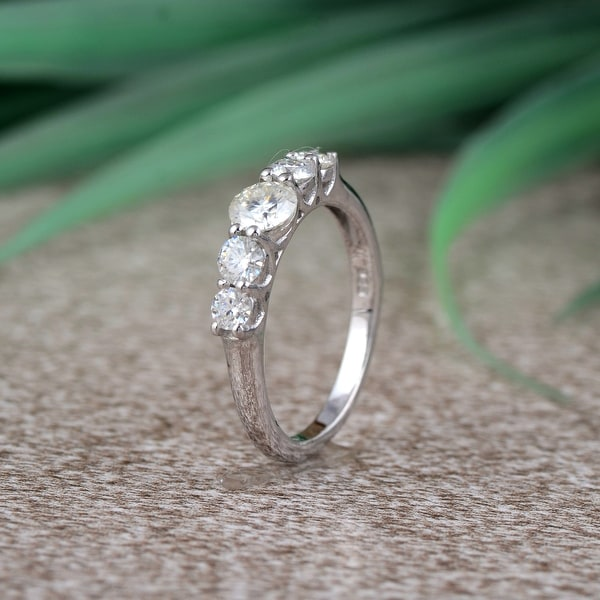 Moissanite Sterling Silver Round 5-Stone Ring by Orchid Jewelry. Opens flyout.