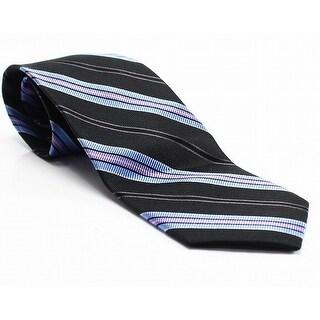 John Forsyth Black Blue Men's One Size Striped Classic Silk Neck Tie