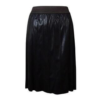 Modamix Women's Pleated Faux Leather Shimmer Skirt - Jet Black - 1x