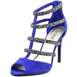 Guess Halston Women Open-Toe Canvas Blue Heels