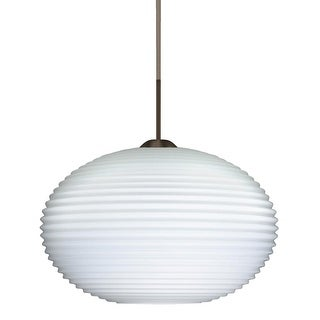 Besa Lighting 1JT-491307-LED Pape 1-Light LED Cord-Hung Pendant with Opal Ribbed Glass Shade