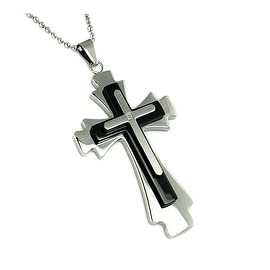Black Plated Stainless Steel Men's Cross Diamond Pendant with 24 Inch Chain