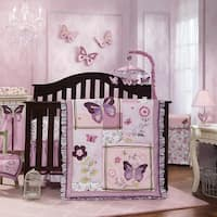 Lambs & Ivy Butterfly Bloom Purple Garden Floral 6-Piece Nursery Baby Crib Bedding Set