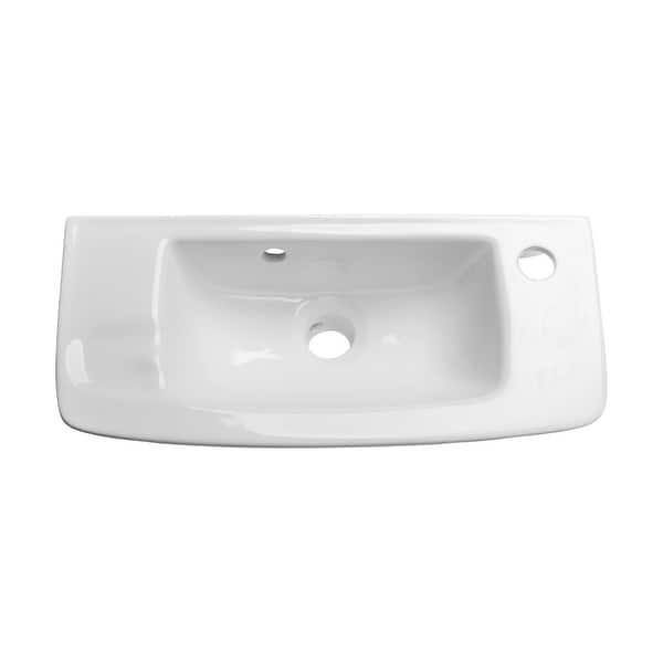 Small White Wall Mount Bathroom Sink With Overflow Vitreous China Overstock 12537910