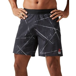 Reebok NEW Black Mens Size Large L Cross Fit Abstract Athletic Shorts