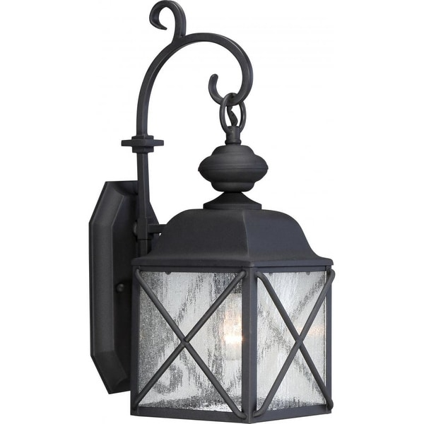 """Nuvo Lighting 60/5621 Wingate 1-Light 17-7/8"""" Tall Outdoor Wall Sconce with Seedy Glass Shade - Textured Black - N/A"""