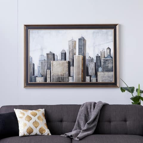 Grey Metal Contemporary Framed Wall Art Architecture 40 x 59 x 2