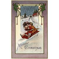 Merry Christmas Couple Sledding Vintage Holiday (100% Cotton Towel Absorbent)