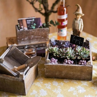 RusticReach Square Solid Wood Table Box Set of 3