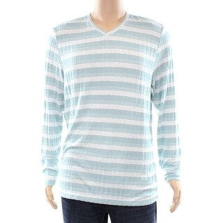 Alfani NEW Green Tide Mens Size Large L Striped Knit V-Neck Sweater