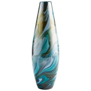 "Cyan Design 09502  Chalcedony 5"" Diameter Glass Vase - Blue Gold Swirl"