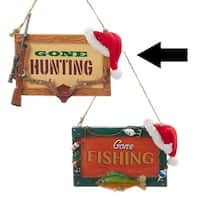 """4.5"""" Gone Hunting Deer Antlers and Rifle Plaque Christmas Ornament"""