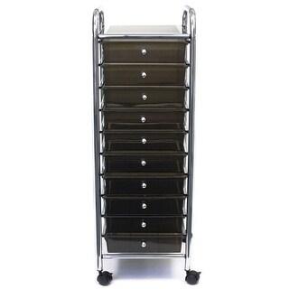 """Storage Studios Home Center Rolling Cart W/10 Drawers-15.25""""X37.5""""X13"""" Smoke"""