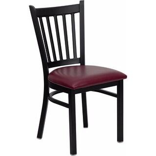 Offex HERCULES Series Black Vertical Back Metal Restaurant Chair - Burgundy Vinyl Seat [OF-XU-DG-6Q2B-VRT-BURV-GG]