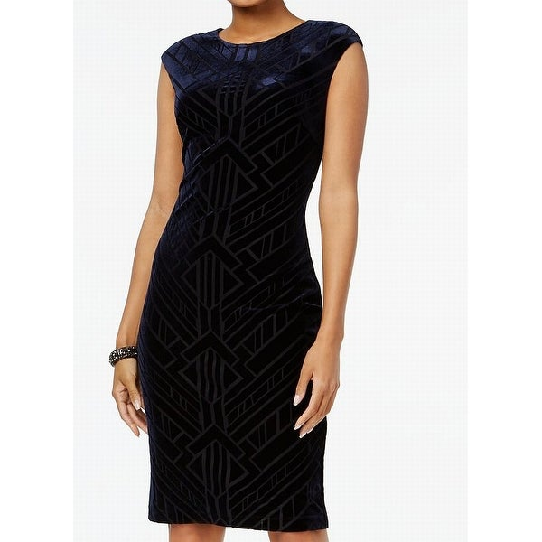 Vince Camuto Womens Velvet Burnout Sheath Dress