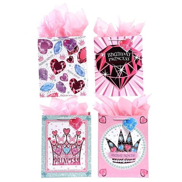Shop Large Gem Princess Design Matte Finish Birthday Gift Bags With