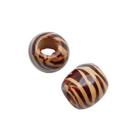 Wood Large Hole Barrel Beads Pale Beige With Brown Zebra Stripe 17mm (2)