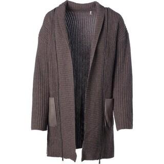 Elie Tahari Womens Perry Wool Suede Trim Cardigan Sweater