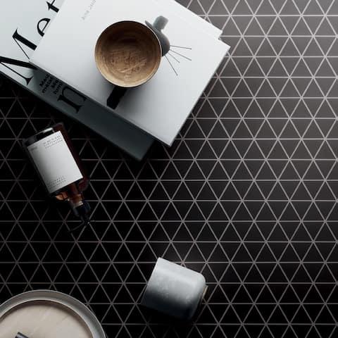 "TileGen. 1.6"" x 1.6 Triangle Porcelain Mosaic in Black Wall & Floor Tile (11 sheets/8.91sqft.)"