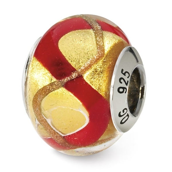 Italian Sterling Silver Reflections Yellowith Gold/Red Bead (4mm Diameter Hole)