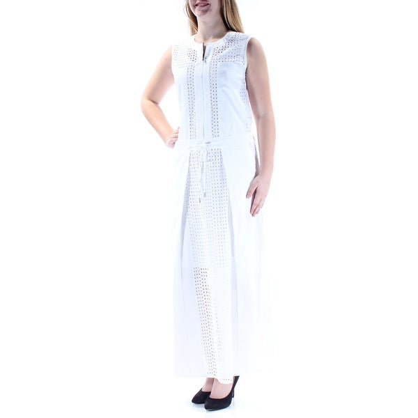 fa6a80e22ee DKNY Womens White Eyelet Cap Sleeve Jewel Neck Maxi Shift Party Dress Size   S