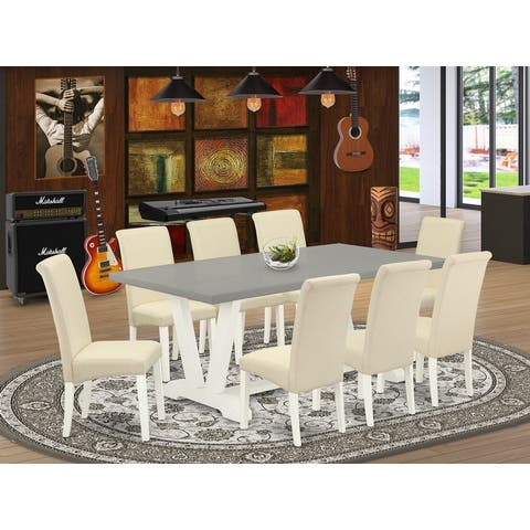 V097BA201-5 - Dining set with Cement Finish Table and Linen Fabric Cream Dining Chairs with Roll Back - (Pieces Option)