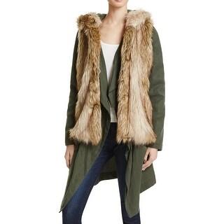 BB Dakota Womens Long Coat Faux Fur Lined Button-Zip