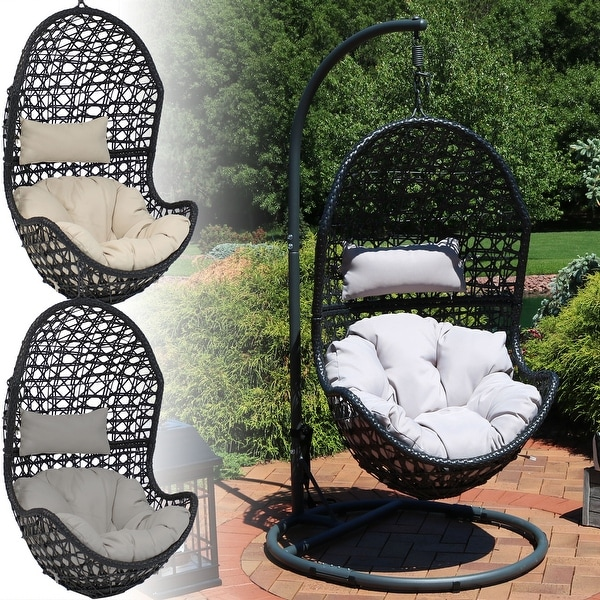 Shop Sunnydaze Cordelia Hanging Egg Chair With Stand