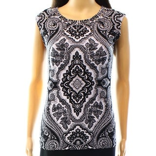 INC NEW Black White Women's Size Small S Grommet Lace Up Paisley Blouse