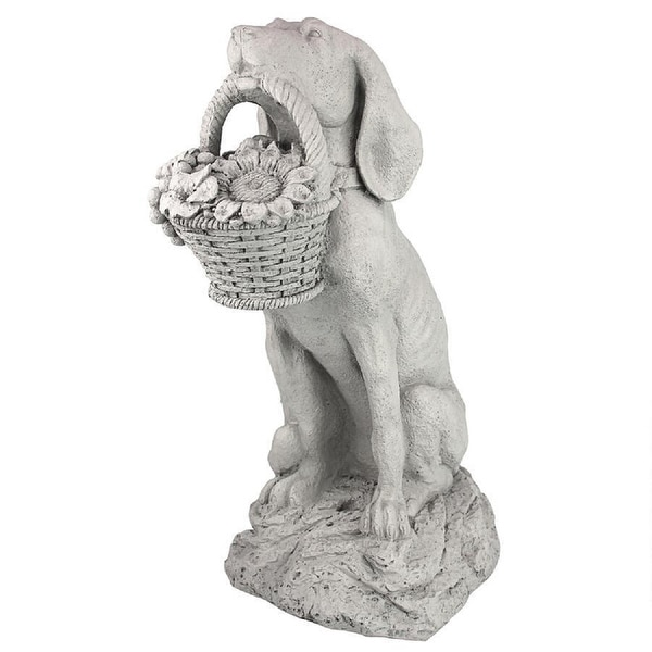 """19"""" Dog Holding A Basket Of Flowers Outdoor Garden Statue - N/A"""