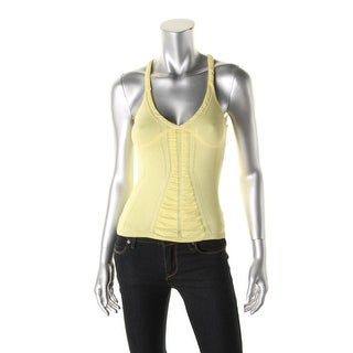 Catherine Malandrino Womens Sample Pointelle Ruched Tank Top - S