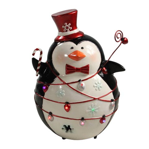 "14"" Black and White Prelit LED Christmas Penguin with Light String Outdoor Decoration"