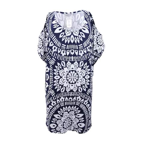 Trina Turk Women's Printed Cold-Shoulder Tunic Cover-Up - Midnight