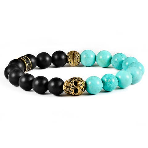 Gold Plated Steel Skull with Natural Stones Stretch Bracelet (10mm)