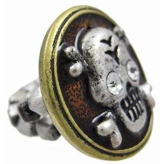Pewter & Brass Skull & Crossbones Stretch Ring