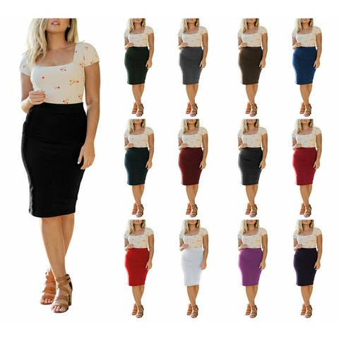 NioBe Clothing Womens High Waist Cotton Fitted Pencil Skirt Knee Length