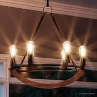 "Luxury Nautical Chandelier, 24.5""H x 22.5""W, with Industrial Style, Walnut Stained Wood, Royal Bronze Finish"